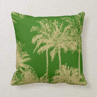 Makena Beach Hawaiian Sketchy Palms Reversible Throw Pillow