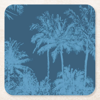 Makena Beach Hawaiian Sketchy Palms Square Paper Coaster