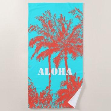 Beach Themed Makena Beach Hawaiian Sketchy Palms Turq Beach Towel