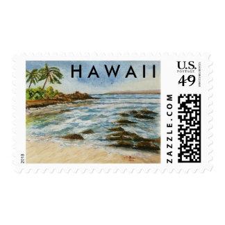 Makena Cove Hawaii Beach Fine Art Watercolor Postage Stamp