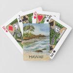 Makena Cove Hawaii Beach Watercolor Bicycle Playing Cards