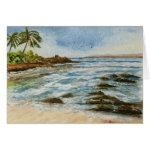 Makena Cove Hawaii Beach Watercolor Card