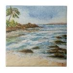 Makena Cove Hawaii Beach Watercolor Ceramic Tile