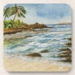 Makena Cove Hawaii Beach Watercolor Beverage Coaster