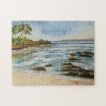 Makena Cove Hawaii Beach Watercolor Jigsaw Puzzles