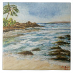 Makena Cove Hawaii Beach Watercolor Large Square Tile