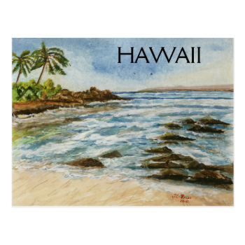 Makena Cove Hawaii Beach Watercolor Post Card