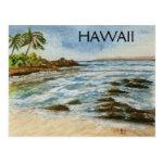 Makena Cove Hawaii Beach Watercolor Postcard