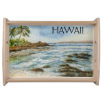 Makena Cove Hawaii Beach Watercolor Serving Tray