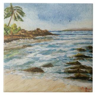 Makena Cove Hawaii Beach Watercolor Tile