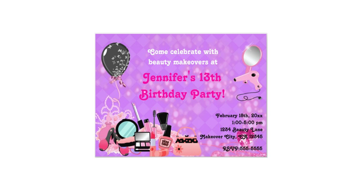 Makeover Makeup Beauty Girls Party Invitations | Zazzle.com