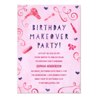 Makeover Party | Pink & Purple Girls Birthday 5x7 Paper Invitation Card