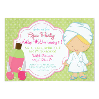 Makeover Spa Party 3.5x5 Paper Invitation Card