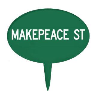 Makepeace Street, Road Sign, Massachusetts, USA Cake Topper