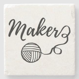 Maker • Yarn & Crafts Typography Stone Coaster