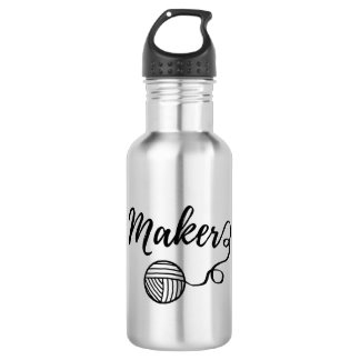 Maker • Yarn & Crafts Typography Water Bottle