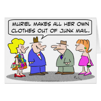 makes own clothes junk mail card