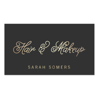 Makeup and Hair Stylist Stylish Gold Typographic Double-Sided Standard Business Cards (Pack Of 100)