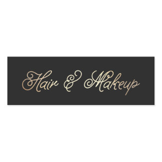 Makeup and Hair Stylist Stylish Gold Typographic Double-Sided Mini Business Cards (Pack Of 20)