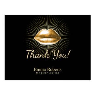 Makeup Artist 3D Gold Lips Beauty Salon Thank You Postcard
