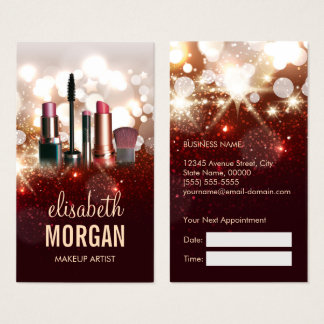 Makeup Artist Appointment Gold Glitter Sparkle Business Card