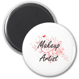 Makeup Artist Artistic Job Design with Butterflies 2 Inch Round Magnet