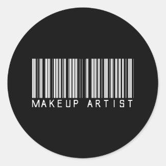 Makeup Artist Bar Code Classic Round Sticker