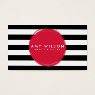 Makeup Artist Beauty Blogger Stripes Social Media Business Card