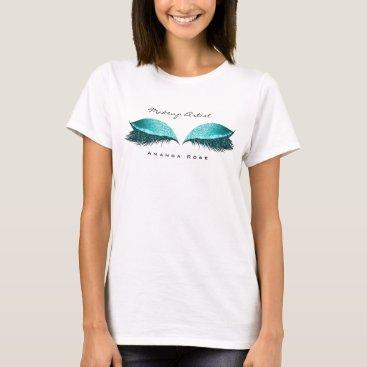 Beach Themed Makeup Artist Beauty Lashes Ocean Blue Glitter T-Shirt