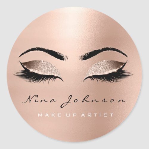 Makeup Artist Beauty Rose Gold Eye Glitter Lashes Classic Round Sticker