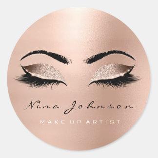 Makeup Artist Beauty Rose Gold Eye Glitter Lashes Classic Round Sticker