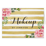 Makeup Artist Beauty Salon Floral Gold Stripes Card