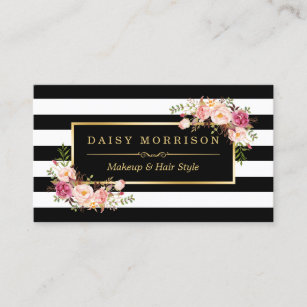 Hair stylist business cards zazzle makeup artist beauty salon gold vintage floral business card reheart Gallery