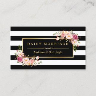 Custom business cards zazzle makeup artist beauty salon gold vintage floral business card reheart Gallery