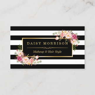 Makeup Artist Beauty Salon Gold Vintage Floral Business Card