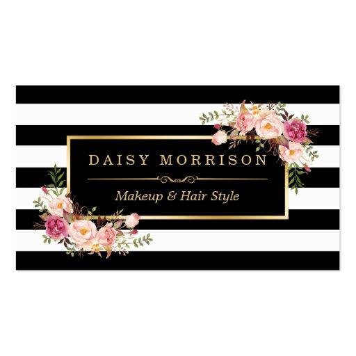 Makeup artist beauty salon gold vintage floral business for A b beauty salon
