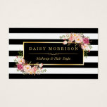 Makeup Artist Beauty Salon Gold Vintage Floral Business Card<br><div class='desc'>================= ABOUT THIS DESIGN ================= Makeup Artist Beauty Salon Gold Vintage Floral with Black and White Stripes Look Business Card. This design is perfect for Florist, Event Planner, Wedding Coordinator, Photography, Makeup Artist, Hair Stylist, Nail Technician, Beautician, Cosmetologist, SPA Salon Store, and more. (1) If you need any customization or...</div>