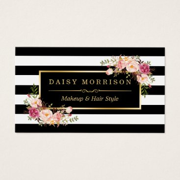 CardHunter Makeup Artist Beauty Salon Gold Vintage Floral Business Card