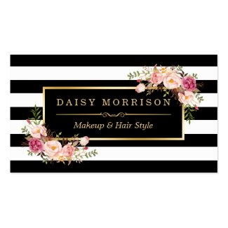 Makeup Artist Beauty Salon Gold Vintage Floral Double-Sided Standard Business Cards (Pack Of 100)
