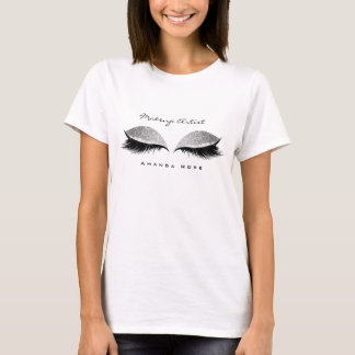 Makeup Artist Beuty Lashes Silver Black Glitter T-Shirt