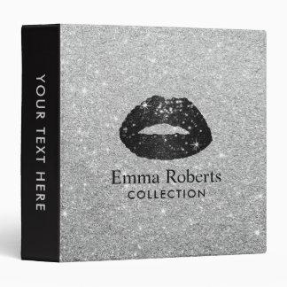 Makeup Artist Black Glitter Lips Modern Silver Binder