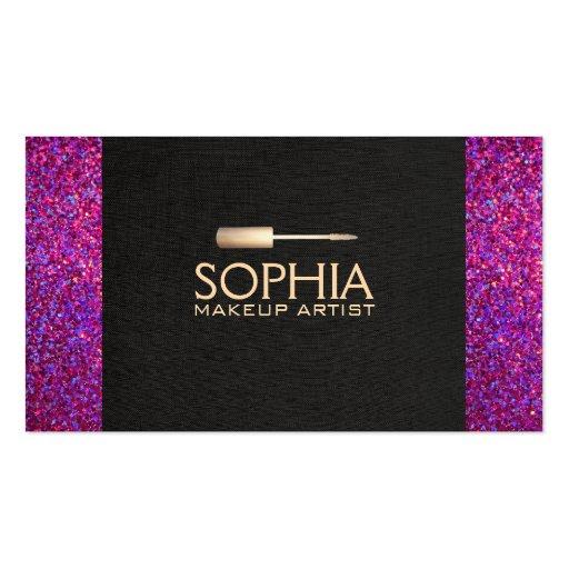 Makeup Artist Black Linen and Purple Glitter Look Business Card