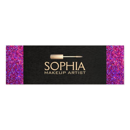 Makeup Artist Black Linen and Purple Glitter Look Business Cards