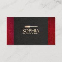 Makeup Artist Black Linen and Red Alligator Skin Business Card