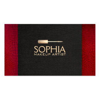 Makeup Artist Black Linen and Red Alligator Skin Business Card Template