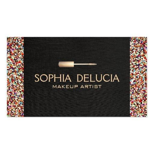 Makeup Artist Black Linen, Gold Foil & Glitter Business Card Templates