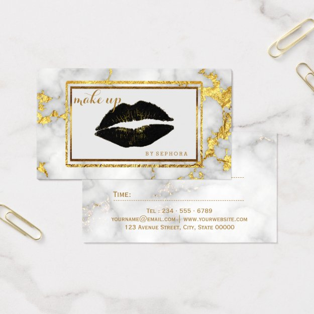 MakeUp Artist Black Lips Gold Accent - Gold Marble Business Card