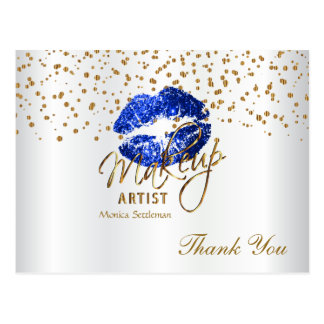 Makeup Artist Blue Lips on White Postcard