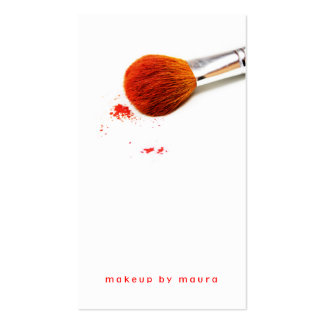 makeup artist brush blush red pink simple stylish business card