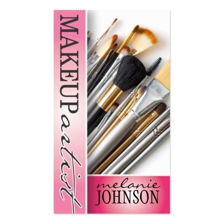 Assorted Cosmetic Brushes Makeup Artist Business Cards